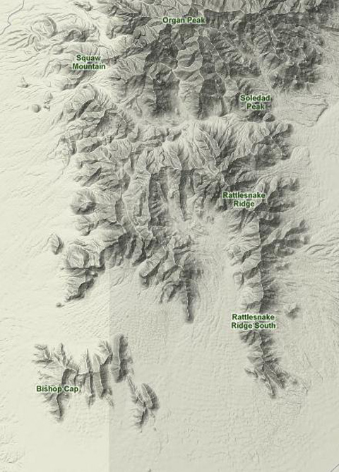 Bishop's Cap Peak -- Topographic Map